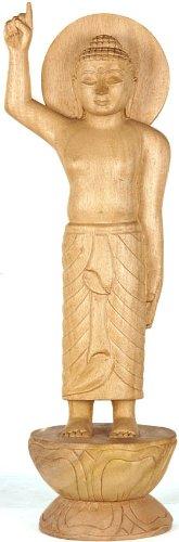 Exotic India Mondes au-Dessus et Mondes ci-Dessous, il n'y a Pas de Bouddha One Like Me (Naissance) – Gambhar Sculpture de Bois à partir de