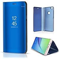 Sycode Huawei P8 Lite 2017 Mirror Case,Huawei P8 Lite 2017 Flip Case,Huawei P8 Lite 2017 Full Corner Protective Case,Luxury Stylish Noble Cool Screen Protect Blue Slim Fit Clear Standing View Mirror Cover Metal Electroplating Technology Foldable Bookstyle Wallet Case Cover Shell for Huawei P8 Lite 2017-Blue Mirror