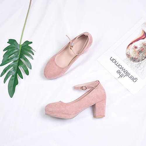 Yukun Schuhe mit hohen Absätzen Einzelne Schuhe Weibliche Herbst Mode Starke Ferse Schuhe Frühling Mary Jane Girl Black Fairy Mitte, 34, ()