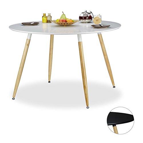 Relaxdays Tavolo da pranzo rotondo, modello scandinavo, posto per 6 ...