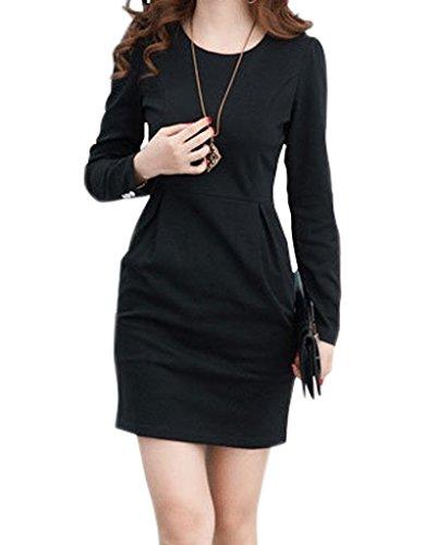 Minetom Donne Elegant A-Line Vestito Maniche Lunghe Vestito Slim Ol Abbigliamento Moda Nero 46