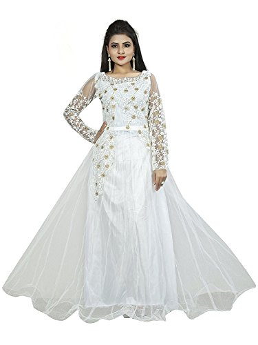 Daily Fashion Women\'s Semi-Stitched Net Gown With Embroidery Work(Free Size)