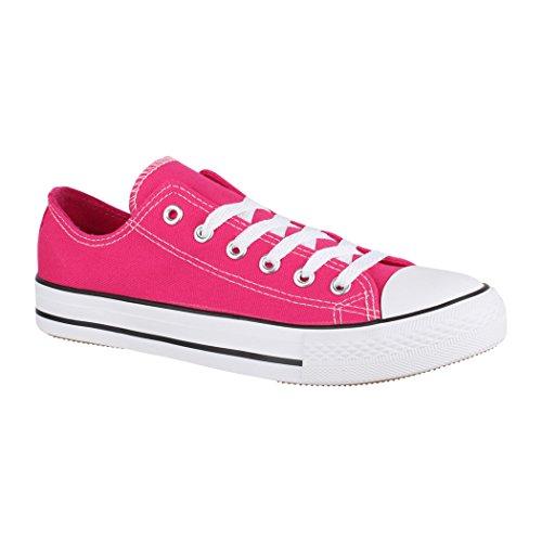 Elara Unisex Sneaker | Bequeme Sportschuhe für Damen und Herren | Low top Turnschuh Textil Schuhe NoN-XG200 Fuchsia-41 Fuchsia Damen Schuhe
