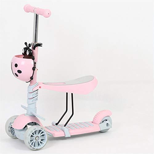 SANCONlte Der Roller Der Kinder Kann Schieben Kann DREI-in-eins-Multifunktionsdia-Auto-Blitz-Rad Sitzen Fünf-in-eins-Fuß-Junge-Mädchen-Zusammenbruch -