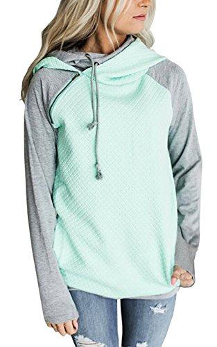 Womens Hoodies Long Sleeve Jumper Colorblock High Neck Sweatshirt Pullover Sweater Coat With Pocket
