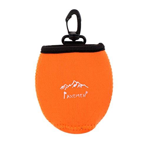 MagiDeal Outdoor Mini Neopren Tasche mit Karabiner, Zusatztasche, Zubehörtasche für Handtuch Münze Schlüssel Handytasche, Rucksack zu hängen Pouch, Mini Gürteltasche - Orange