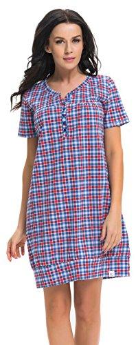 dn-nightwear - Chemise de nuit spécial grossesse - Femme Bleu/rouge
