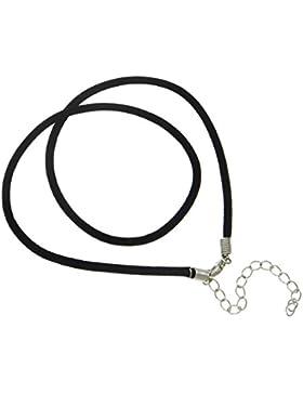 Halsband aus Samt, schwarz, 3 mm breit, 46 cm lang, Metallverschluss silber