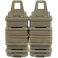 haoYK Tactical Airsoft Double FAST Adjuntar MP7 MAG Magazine Pouch Molle Holster Holder Set (Tan)