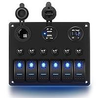 لوحة مفاتيح هزاز مزودة بخمسة دبابيس للتشغيل والإيقاف من Nilight 6 Gang 6Gang Rocker Switch Panel