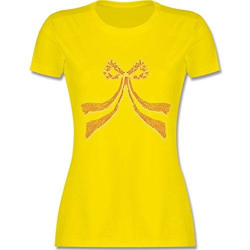JGA Junggesellinnenabschied Schleife Punkte Herzchen tailliertes Premium  TShirt mit Rundhalsausschnitt für Damen Lemon Gelb