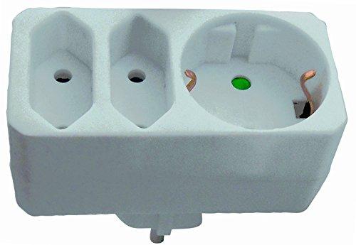 Bayram 1 Stck Zwischensteckdose, Stecker ohne Schalter Schuko Steckdose Euro (ohne Schalter)16A 220-250V
