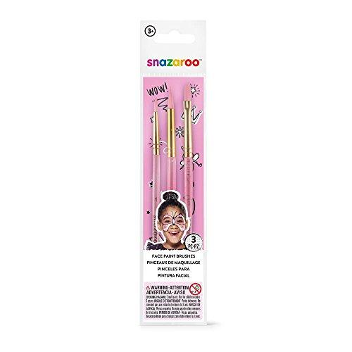 Snazaroo 1192503 Mädchen Pinselset, 3 Schminkpinsel in fein, rund und flach, pink