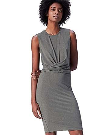 FIND Jersey Ruched Front  Vestito Donna, Grigio (Grey Marl), 40 (Taglia Produttore: X-Small)
