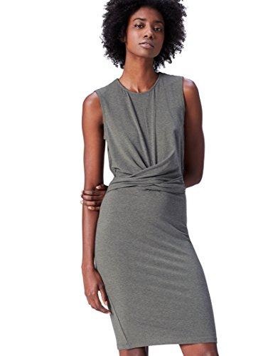 FIND Vestido Elegante Drapeado sin Mangas para Mujer, Gris (Grey Marl), 36 (Talla del Fabricante: X-Small)