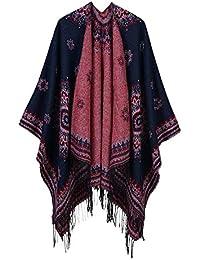 7d575c572f5 Femme Classique Jacquard Rayure Imitation Cachemire Foulard Les Deux Côtés  Style National Châle Pompon