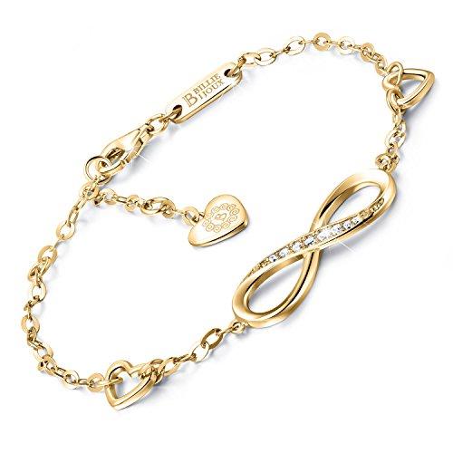Imagen de billie bijoux pulsera de plata esterlina mujer símbolo amor infinito brazalete de mujer ajustable regalo ideal el día de san valentín oro  alternativa