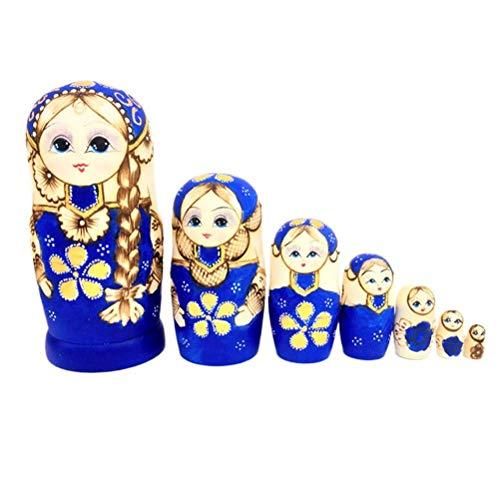 JJSFJH Stapelspielzeug Russische Puppen Langes Haar Mädchen Spielzeug Geschenk for Kinder 7-TLG (Kostüm Der Russischen Folklore)