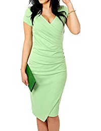 TOOGOO(R) Womens Elegant Vintage Patchwork V-neck Pencil Dress Casual Dress Green M