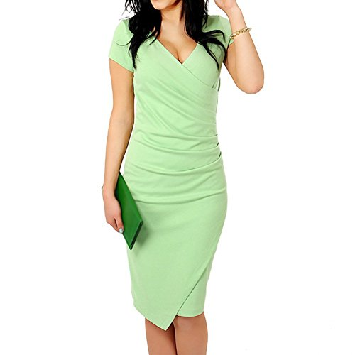 TOOGOO(R) Womens Elegant Vintage Patchwork V-neck Pencil Dress Casual Dress Green M