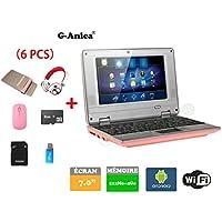 G-Anica® Netbook Ordenador portátil Android 4.4.2 (WIFI, 1.5GHz 512MB de RAM, 4GB de disco duro),Bolsa de ordenador portátil+Ratón+Adaptar+Tarjeta SD+Lector de tarjetas+Auriculares(6 PCS Accesorios) (7 pulgadas, Rosa)