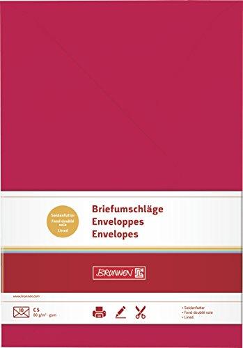 Brunnen - Sobres para cartas (tamaño B5, 17,6 x 25 mm, papel, borde engomado, 80 g/m², 10 unidades), color rojo