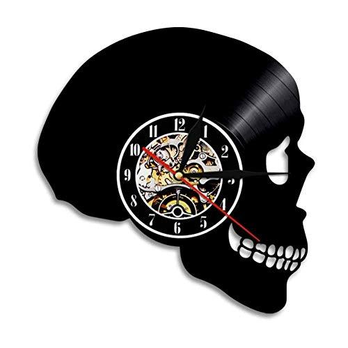 Liafa Schädel Kopf Silhouette Wanduhr Skelett Kopf Schallplatte Wanduhr Halloween Horror Death Bone Home Decor Schädel Wandkunst