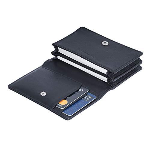 VON HEESEN RFID Visitenkarten Etuis Leder Schwarz - Made in Europe - 6 Fächer - Visitenkartenhalter Visitenkartenbox - Visitenkartenetui für Damen & Herren mit Geschenkbox (Schwarz)