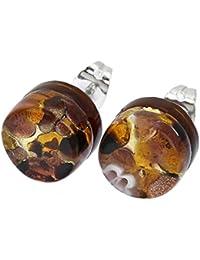 GlassOfVenice - Pendientes de cristal de Murano con reflejos venecianos  redondos 567a7a67961