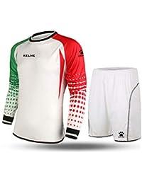Kelme futbol portero de manga larga jersey de futbol Set traje (White/Red/