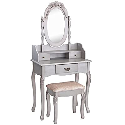 Beautify Vintage-Style Silver Dressing Table, Mirror & Stool Vanity Set with 3 Drawers