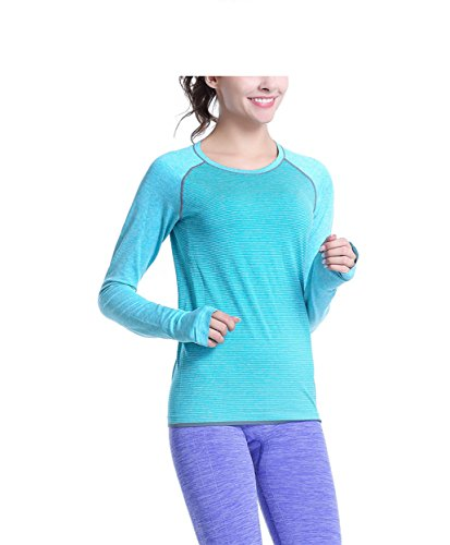 Qutool - Camiseta deportiva de manga larga para mujer, mujer, ABlue, mediano