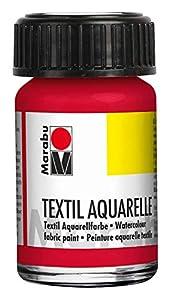 Marabu 17090039031 Textil Aquarelle - Pintura para Acuarelas (Base de Agua, para Tejidos claros, sin olores, Resistente a la luz, Resistente a la Saliva, Tacto Suave, 15 ml), Color Rojo Cereza