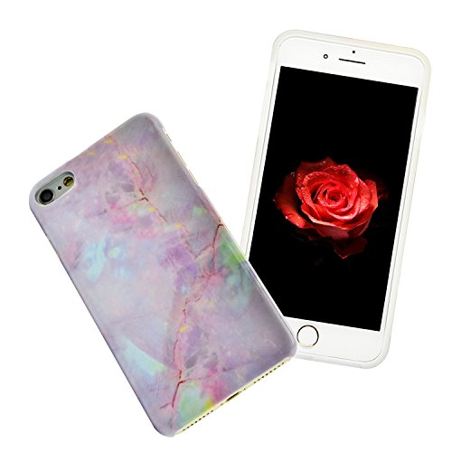 iPhone 6S Plus Marmor Hülle,iPhone 6 Plus Marble Case,Sunroyal Kreative Stylish Schickes Retro Elegant Schön Lila Gelb Achat Stein Pattern Silikon Handyhülle Weiß Stein Glamour Ultradünn Marble Malere Pattern 23