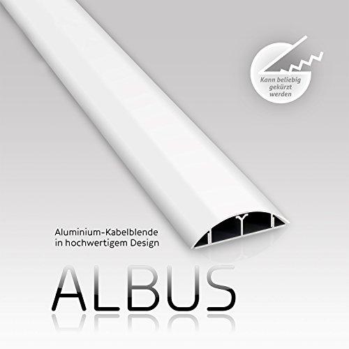 eSmart Germany - Canalina passacavi Albus, in alluminio, 1000 x 79 mm, colore: bianco