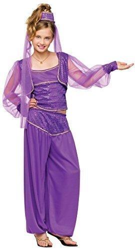 Mädchen-lila Arabisch Nights Jasmin Genie Östlicher Kostüm Kleid Outfit - Lila, Lila, 4-6 (Kostüme Jasmin Mädchen)