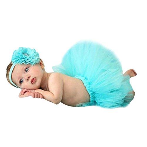 Sunward Baby Boys' Newborn Infant Photography Props for - Headdress Flower+Bowknot Tutu Clothes Free Size Light Blue