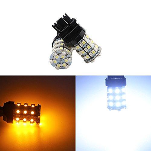 Preisvergleich Produktbild Grandview (3157 3047 3057 307 A 3155 60-smd-1210 weiß / bernstein Dual Farbe Lichtband LED Leuchtmittel Auto Turn Tail Signal Bremslicht Lampe Backup Lampen Leuchtmittel Auto außen (2 Stück)