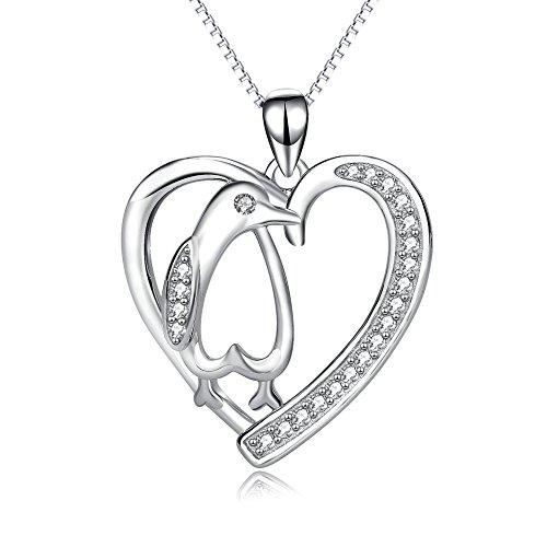 YFN 925 Sterling Silber Nette Pinguin Herzförmig Anhänger Halskette Beste Geschenke für Frauen Mädchen