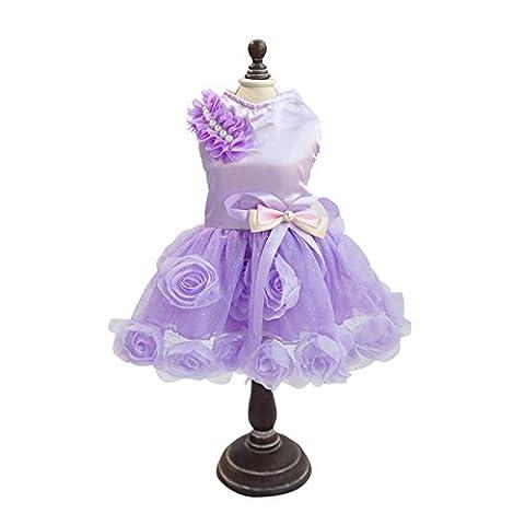 PETCUTE Jupe de Perruque de Luxe Lady Chien Rose Robe Petite Veste Princess Princess Pour le Printemps été Violet