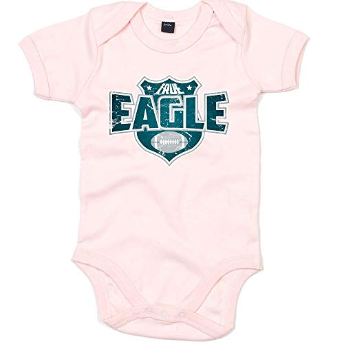 True Eagle American Football Philadelphia The Birds Super Bowl Premium Babybody Kurzarmbody, Größe:6-12 Monate, Farbe:Babyrosa (Powder Pink BZ10)