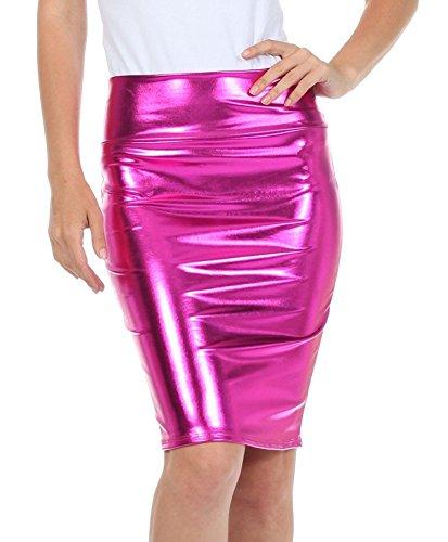 Fast Fashion Frauen Hoch Taille Nasses Aussehen PVC Leder Glänzend Metallisch Flüssigkeit Bleistift Midi Rock (2XL = 48-50, Metallisch Fuchsie)