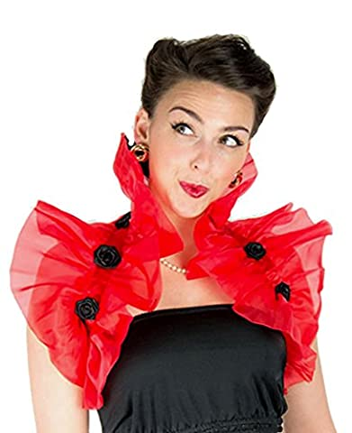 Organza Ruffle Rosette Shawl (One Size (36 inches length excluding satin ribbon), Red with Black rosettes)