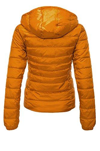ONLY Damen Steppjacke Übergangsjacke Kapuzenjacke, Orange Marmalade - 3