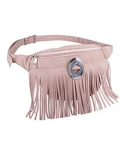 SIX Damen Bauchtasche, Trendige Umhängetasche mit Fransen, Tasche aus Kunstleder in rosa mit silbernen Details (726-758) - Rosa Wildleder Fransen