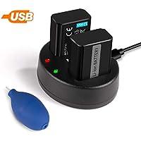 Keenstone Sony NP-FW50, 2PCS 1100mAh Baterías Recargables y USB Cargador Dual para Sony NEX 3/5/7, SLT-A, Alpha Series, Incluye Un Accesorio para Limpiar la Lente de Cámara