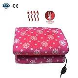 mbition Elektrische Heizdecke für das Auto, niedlich, warm, geschnitten, Plüsch, 12 V, Auto-Heizdecke, klein, frische rosa Schneeflocke