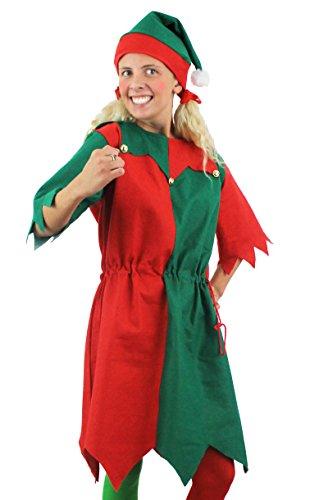ILOVEFANCYDRESS - Travestimento da Elfo, per Natale, Vestito Lungo con Cappello a Punta da Piccolo aiutante di Babbo Natale, Taglie dalla S alla XXL, Colore: Verde