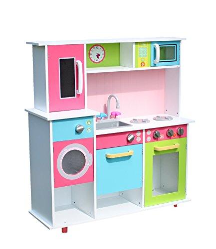 LEKEEZ mehrfarbige große Kinderspielküche Küchespielzeug Haushaltspielzeug für Rollenspiel für Kinder Mädchen 90*34*95cm