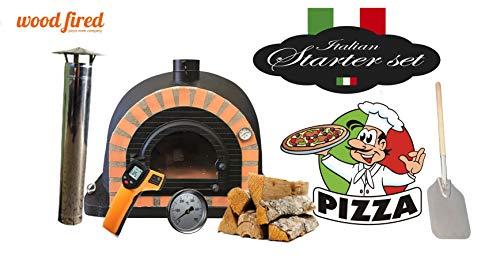 Black Pro Deluxe Wood Fired Pizza Oven Starter Kit, Orang Arch, Cast Iron Window Door, 90cm x 90cm